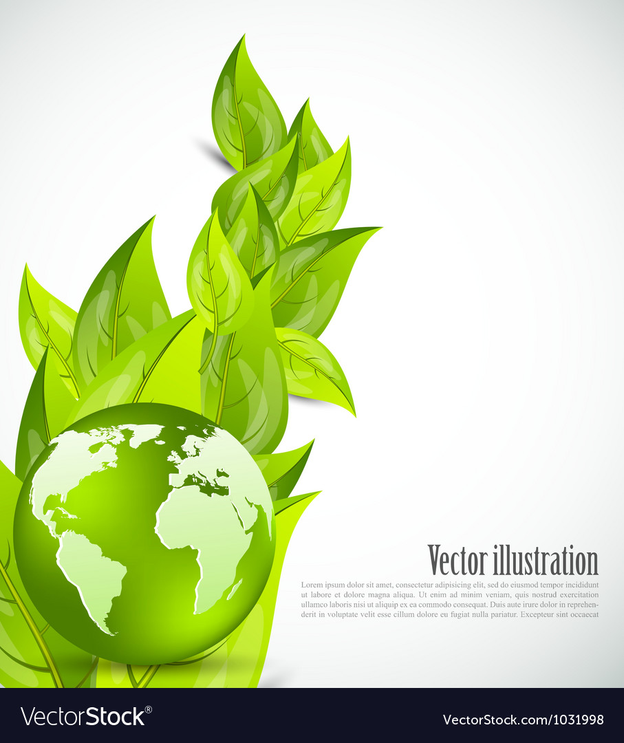 Background with leaves and globe vector image