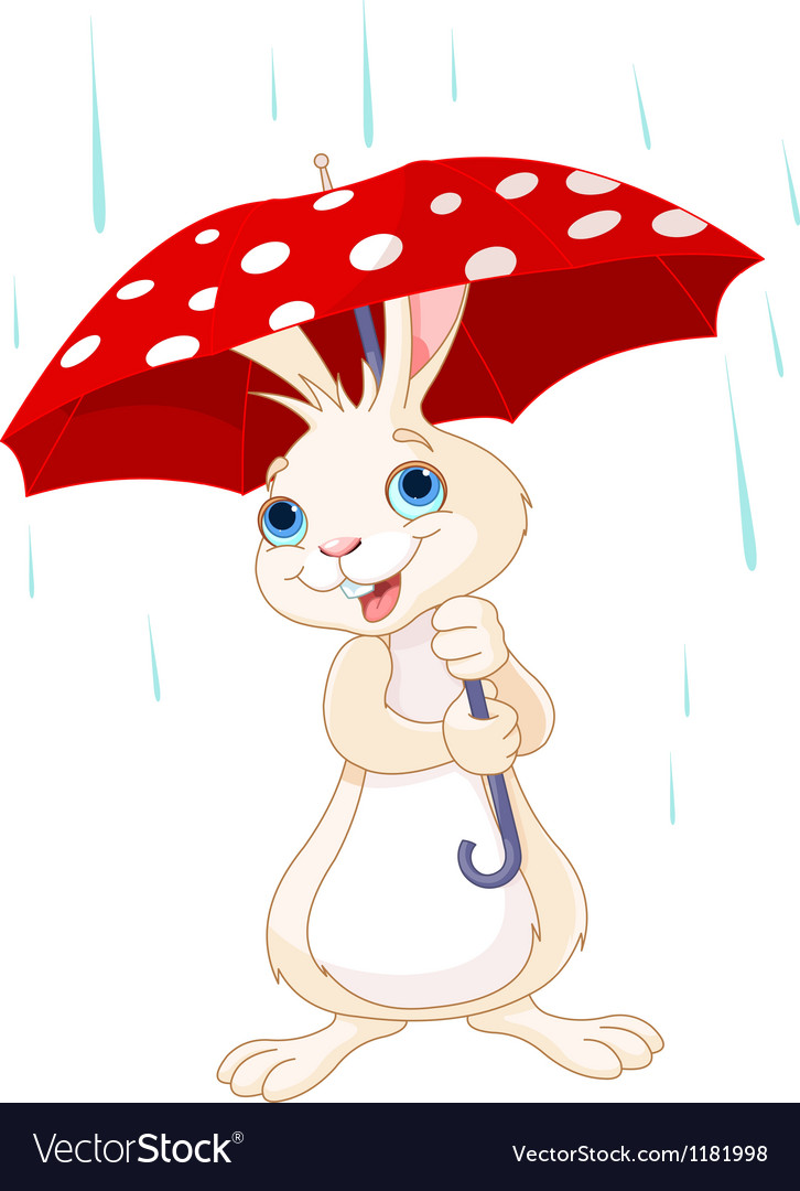 Bunny under umbrella vector image