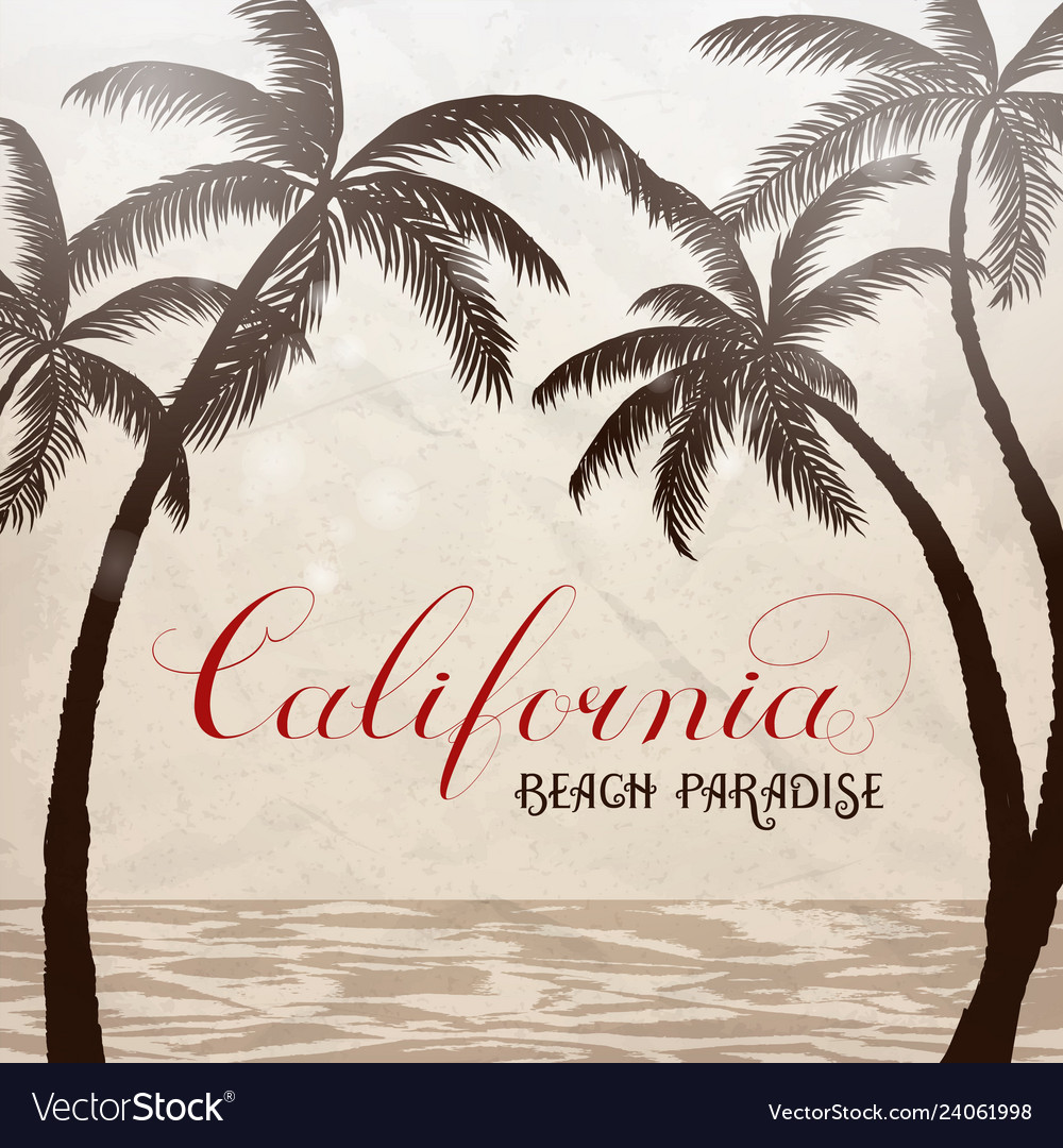 California lettering with palms background