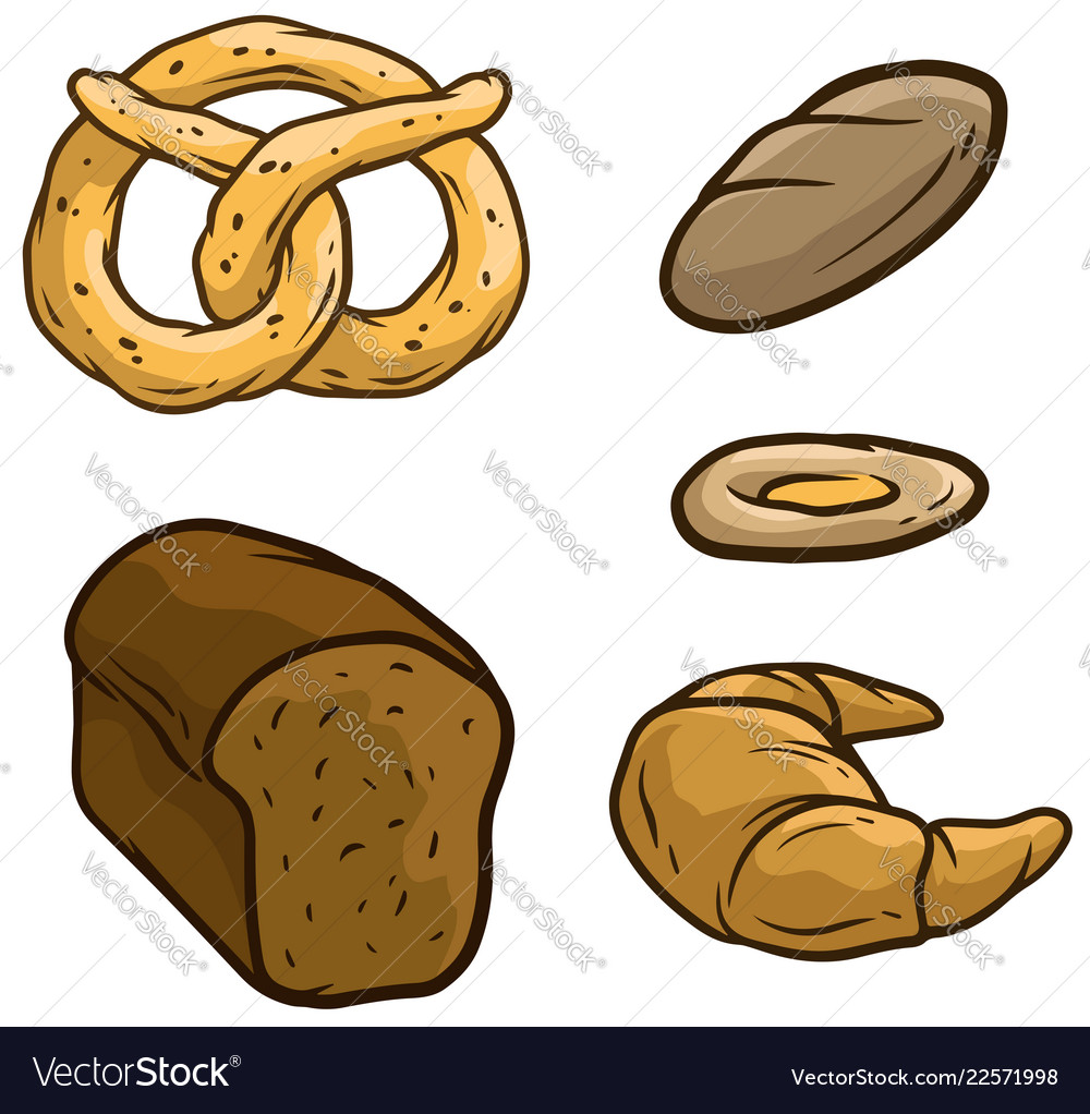 Cartoon bread loaf pretzel beaker icon set