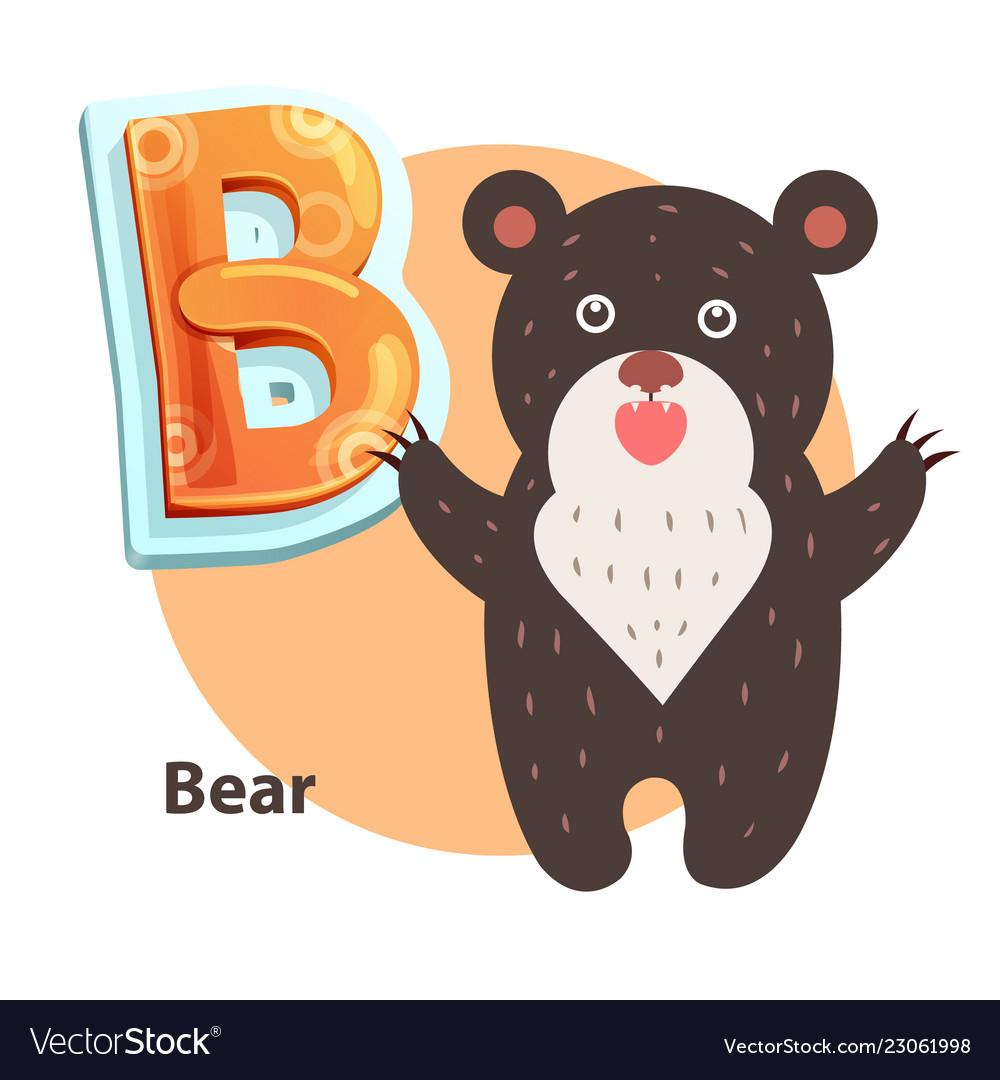 Cartoon roaring taliped bear representing b letter
