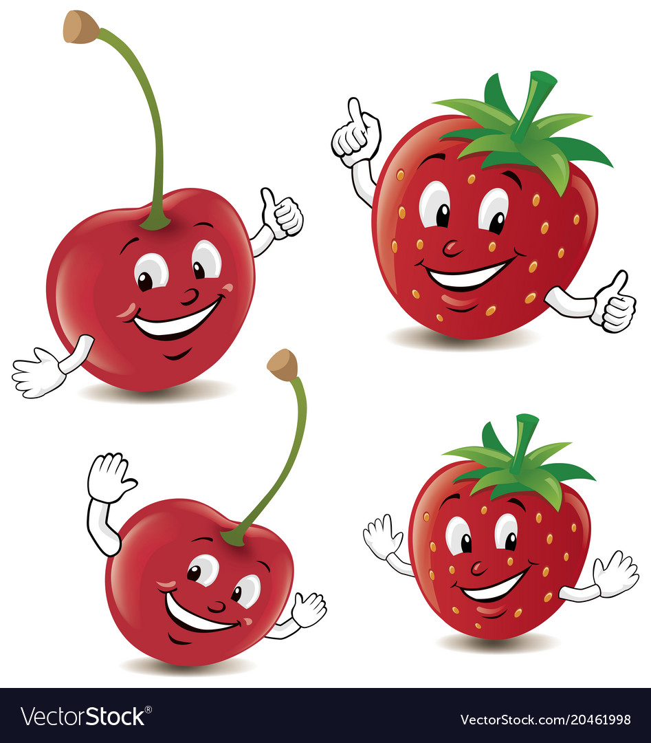 Cartoon strawberry and cherry giving thumbs up