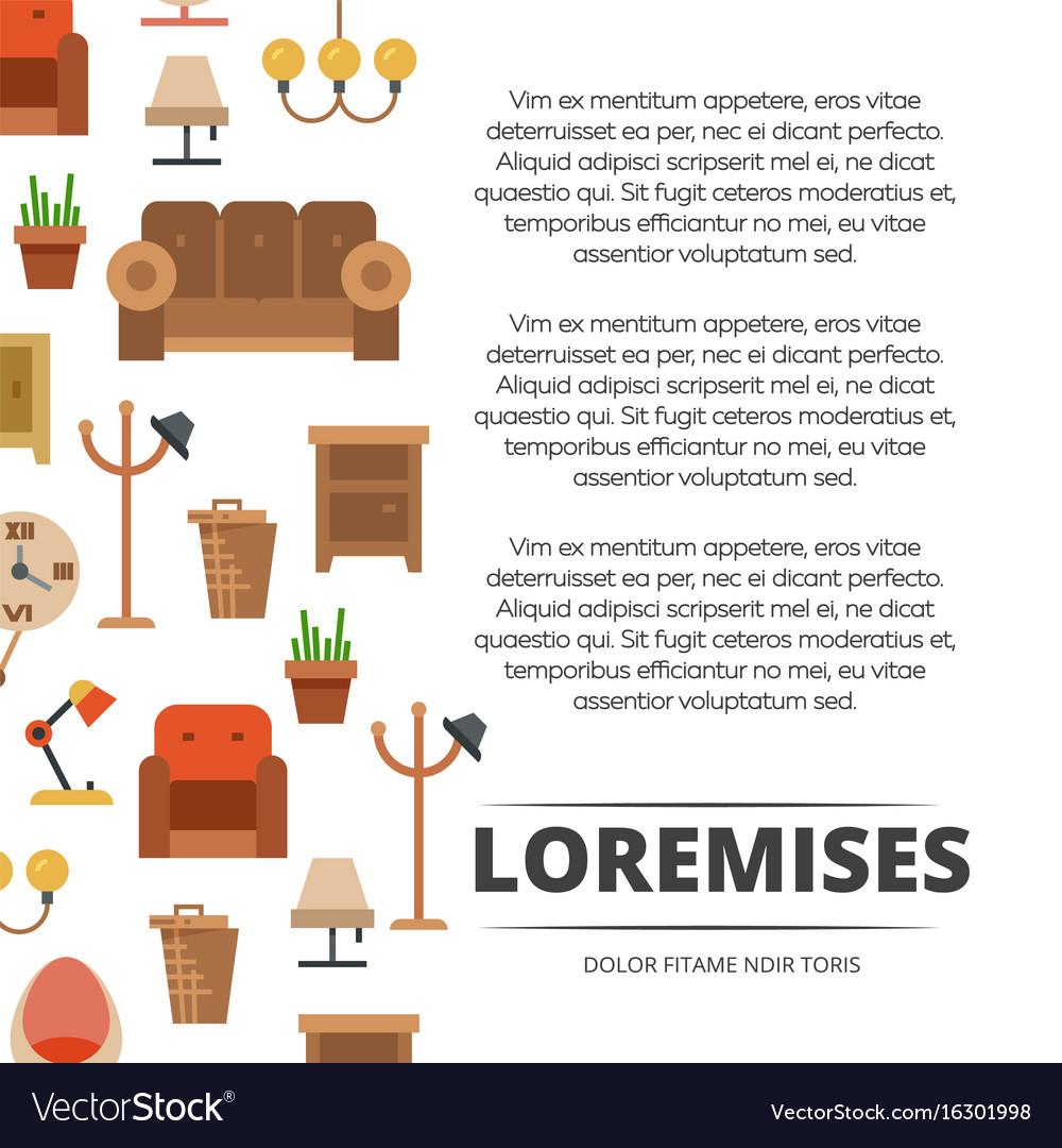 Furniture shop poster design - banner with flat vector image