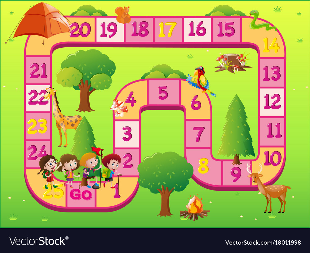 game template with kids at the zoo royalty free vector image