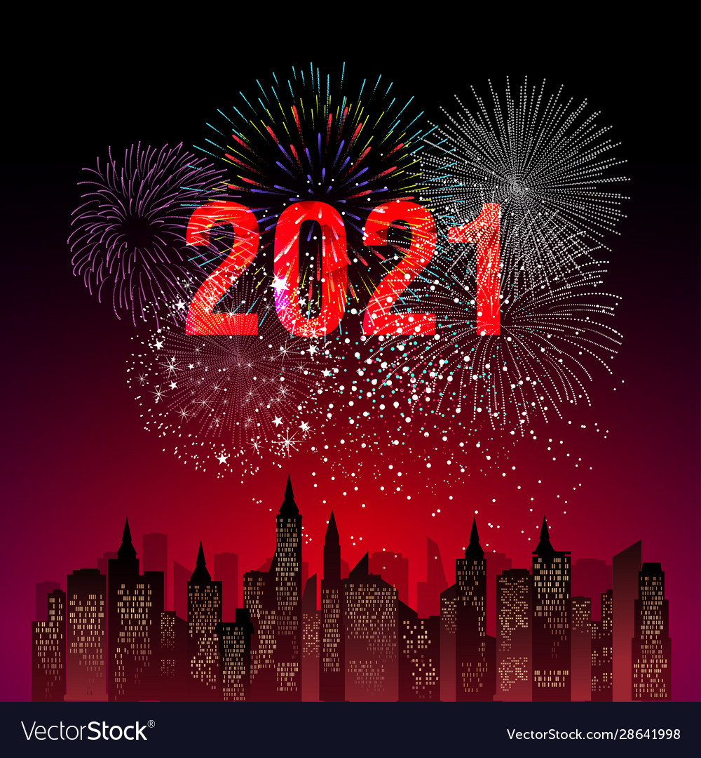 Happy new year 2021 with firework background Vector Image