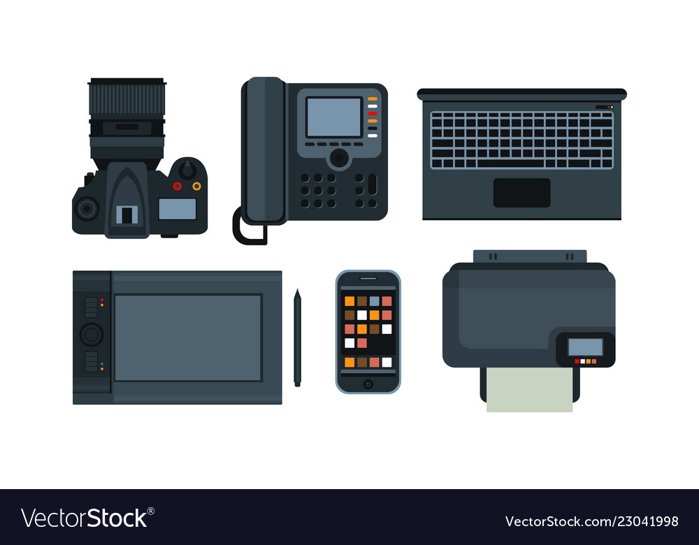 Office equipment mobile devices icons set