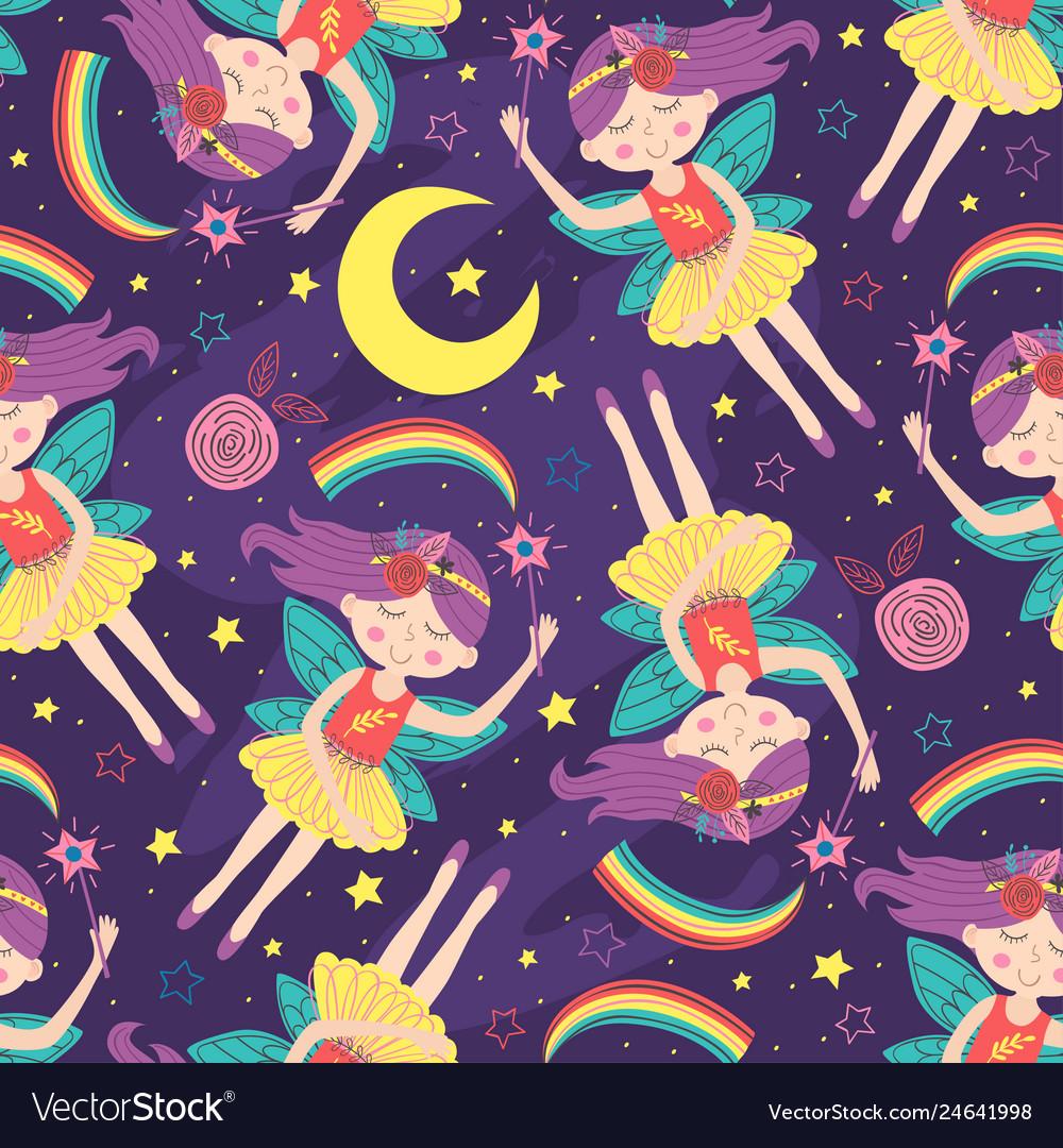 Seamless pattern with magic night fairy