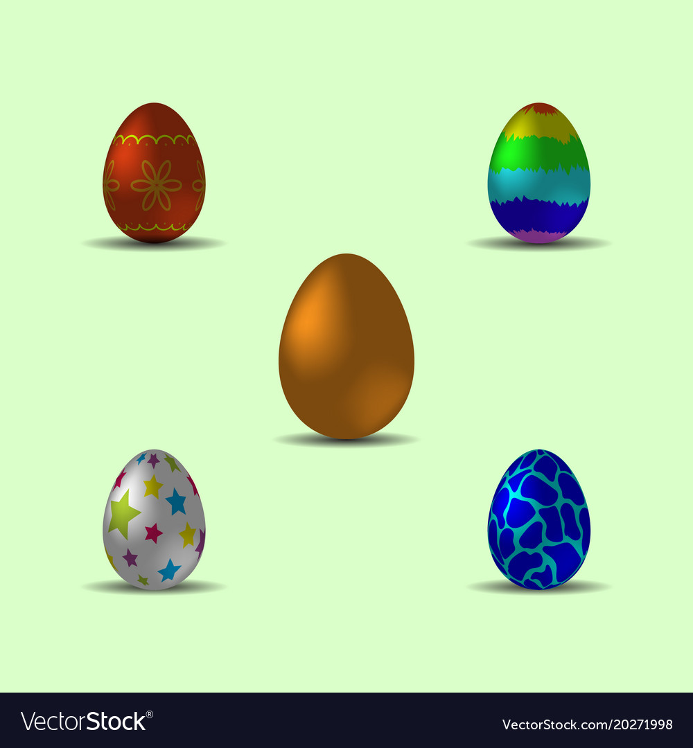 Set of bright multicolored realistic easter eggs