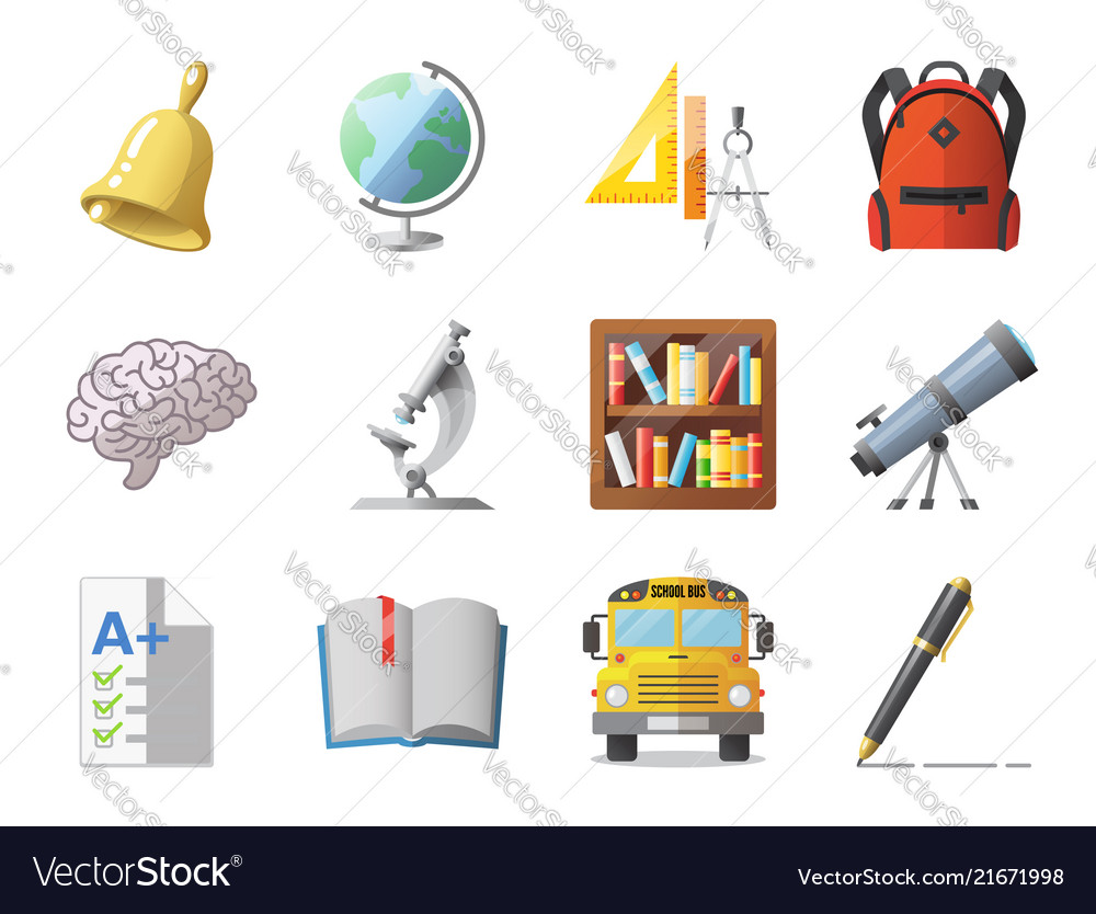Set of school icons shool supplies and transport