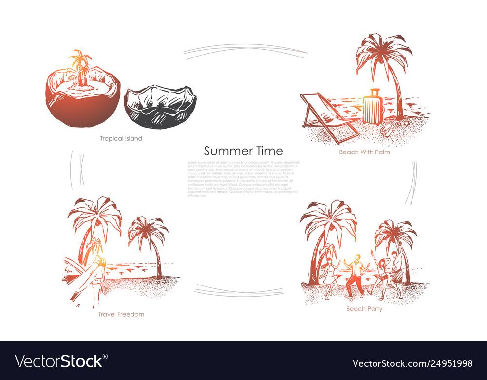 Travel to paradise island seashore with palm