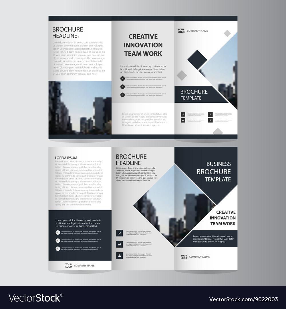 Black Elegance Business Trifold Leaflet Brochure Vector Image