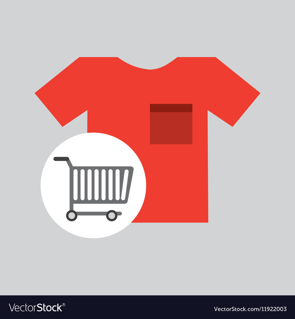 Buying cart tshirt clothing design vector image