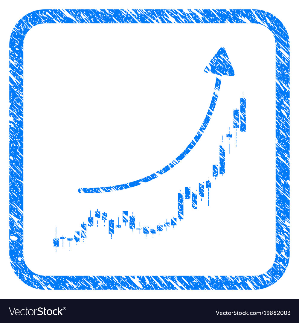 Candlestick chart growth trend framed stamp
