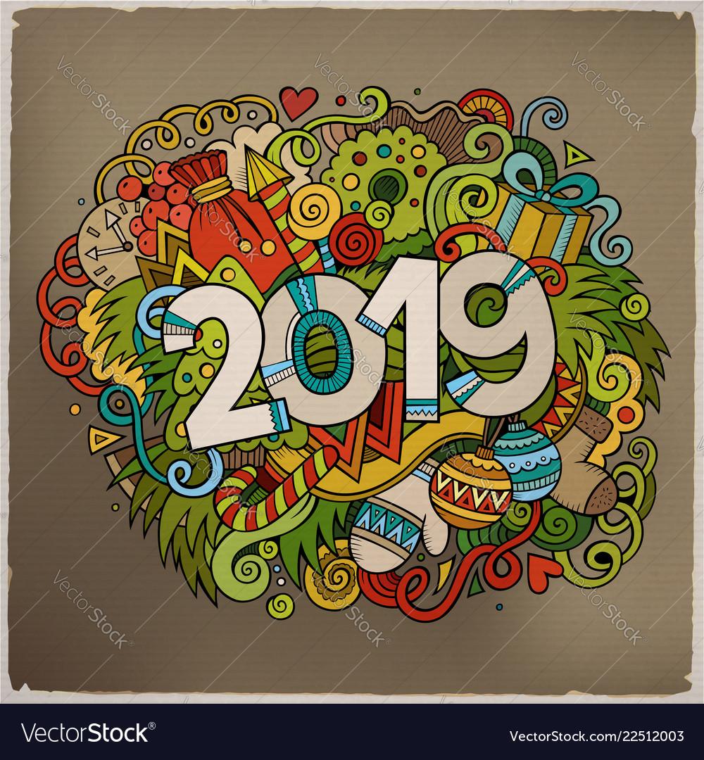 Cartoon cute doodles hand drawn 2019 year