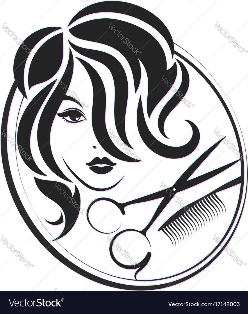 Girl and scissors for beauty salon
