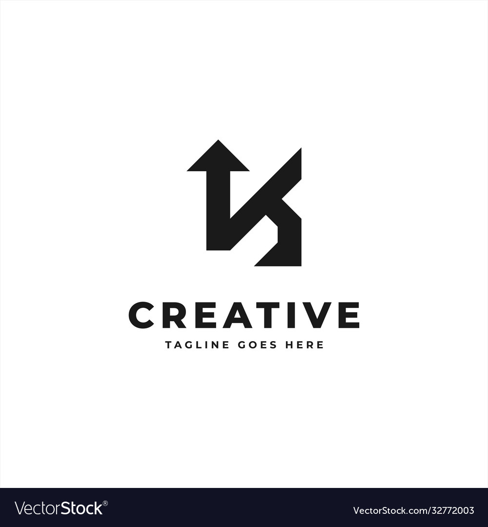 Initial letter k monogram logo black color