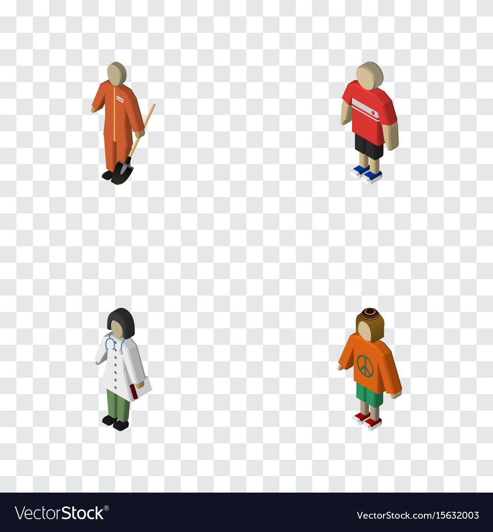 Isometric person set of lady guy doctor and