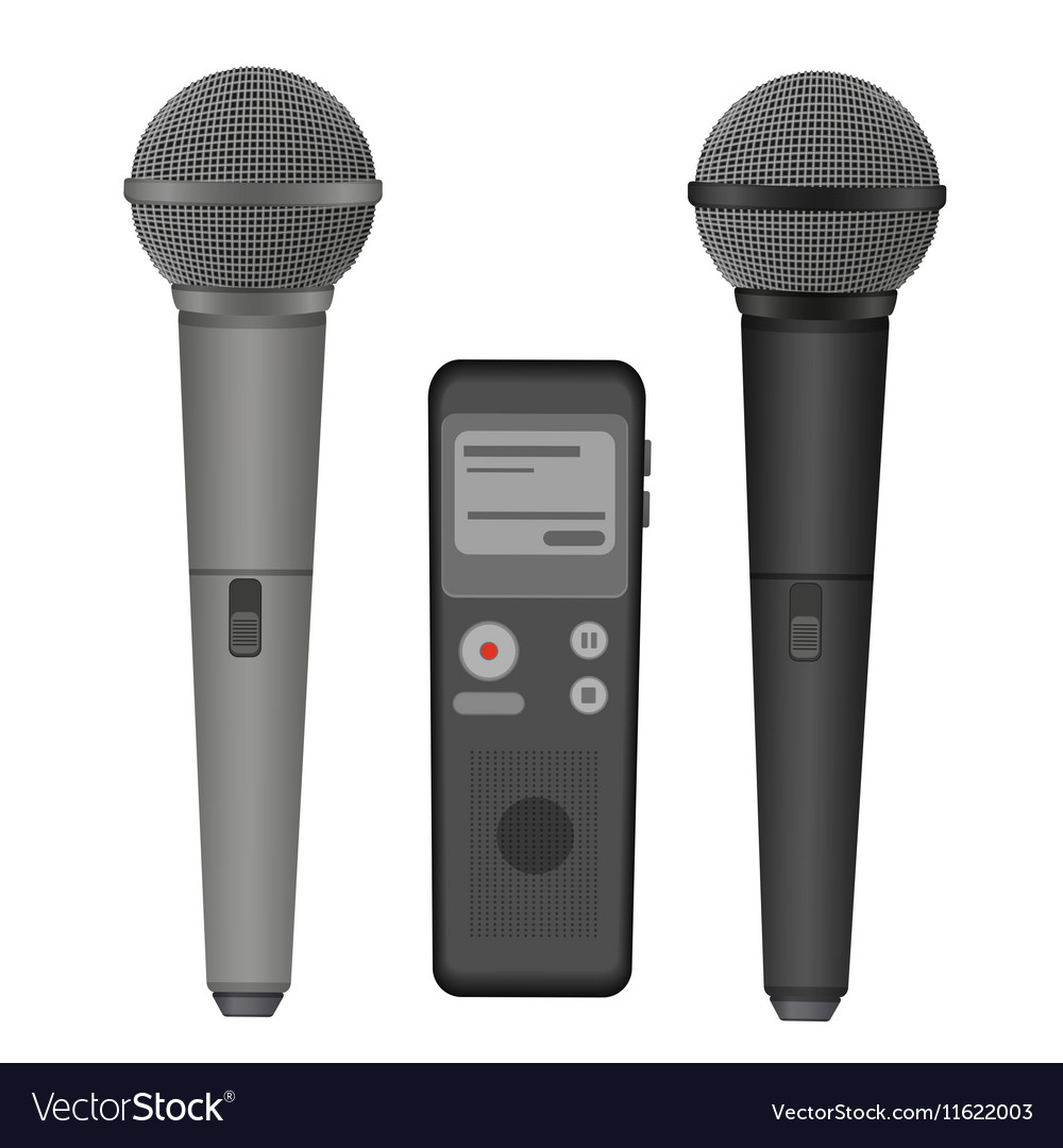 Microphone and dictaphone flat icons