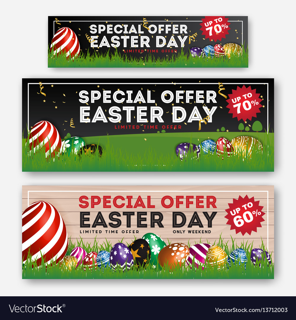 Set easter sale special discount web banner vector