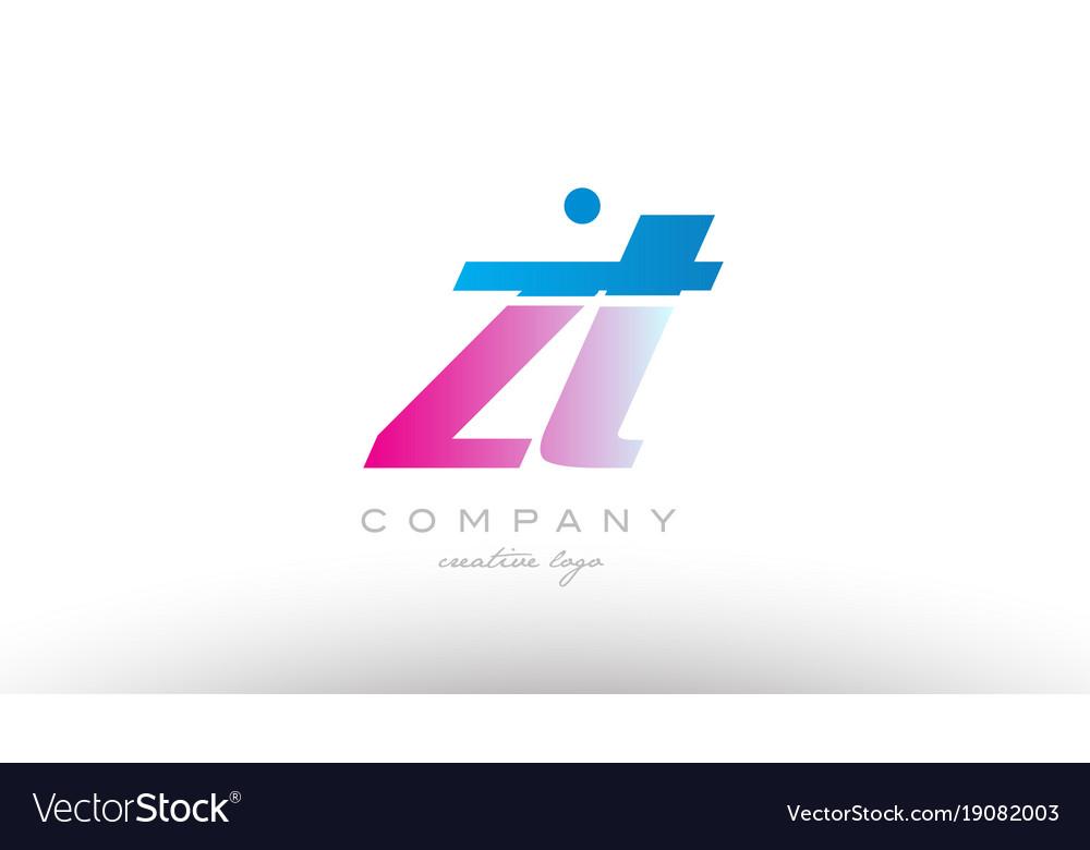 Zt z t alphabet letter combination pink blue bold