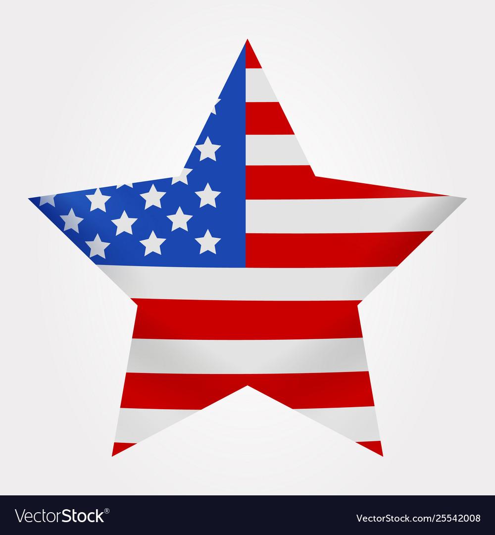 American flag print as star shaped symbol big