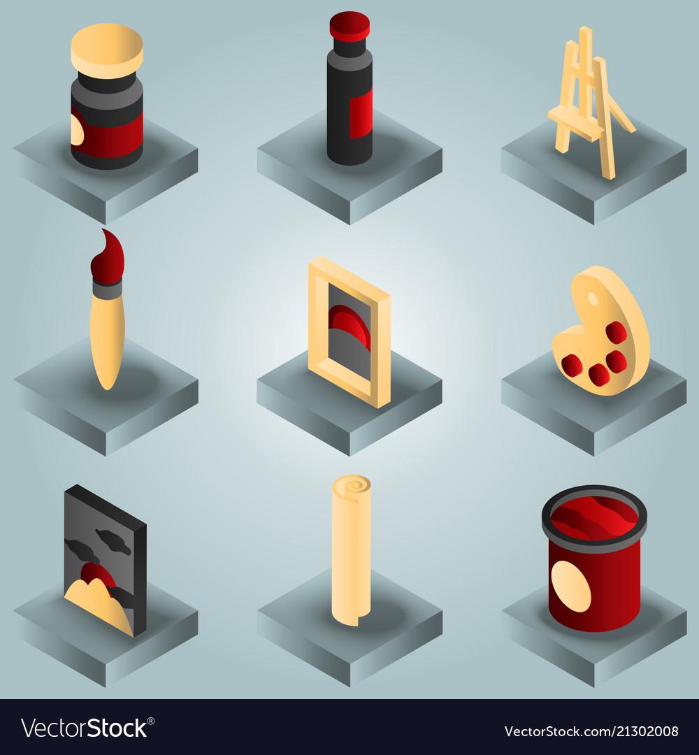 Art color gradient isometric icons set