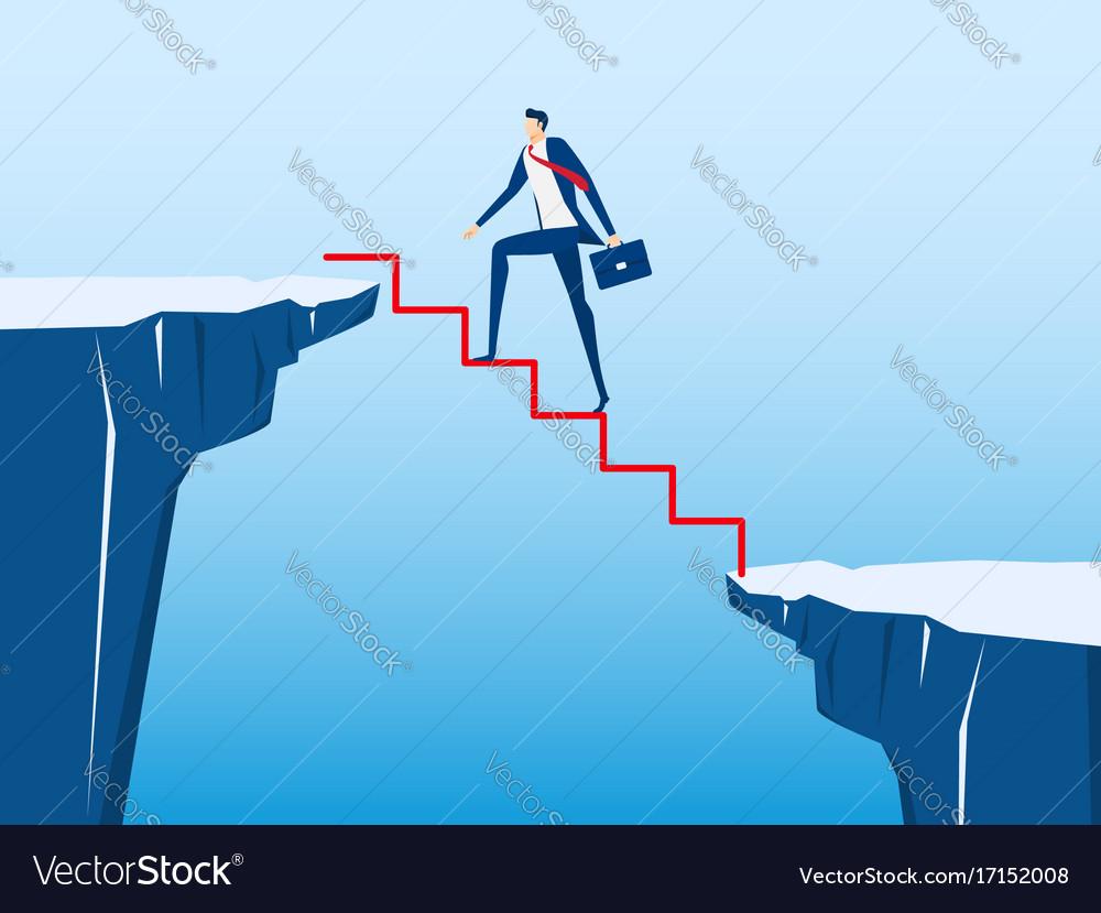 Businessman walking on stair to cross through gap