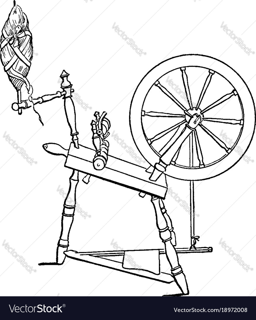 Diagram of a spinning wheel vintage engraving vector image ccuart Images
