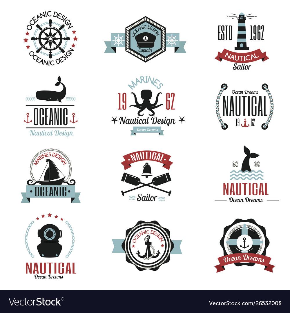 Fashion nautical logo sailing themed label or icon