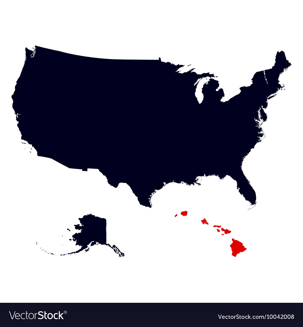 Hawaii State in the United States map