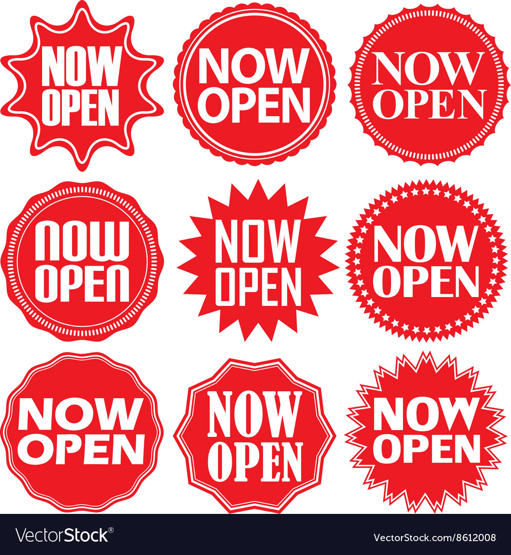 Now open red label Now open red sign Now open red