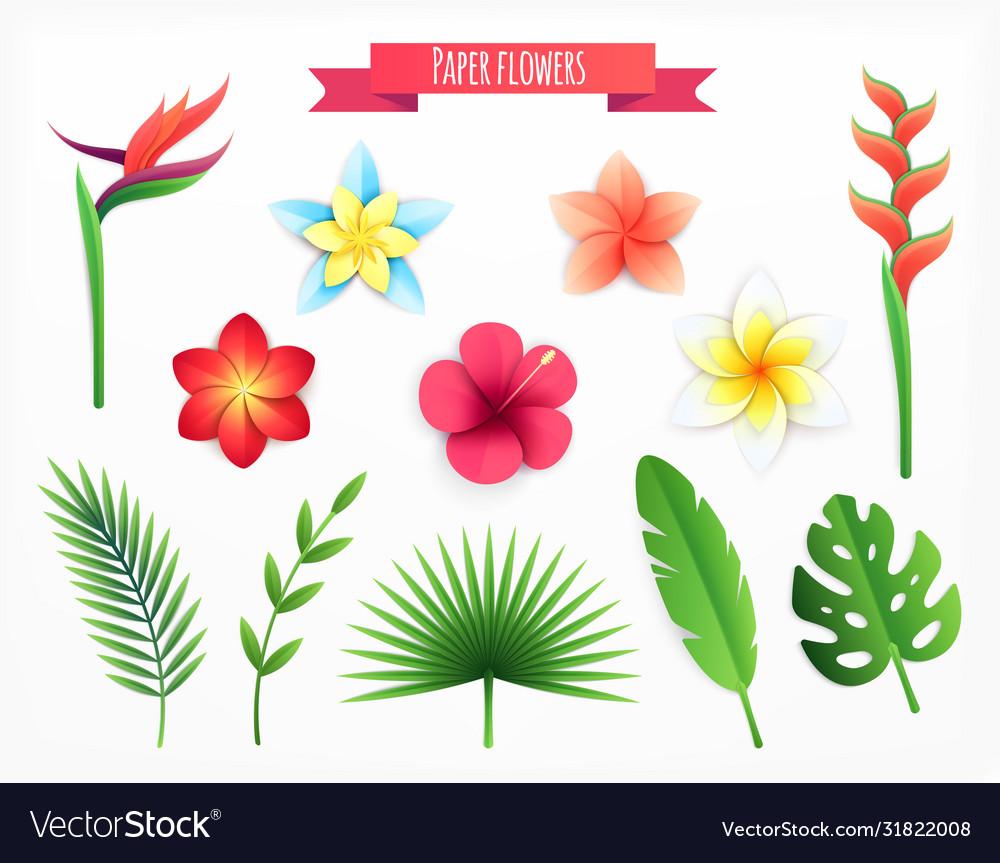 Paper flowers icon set