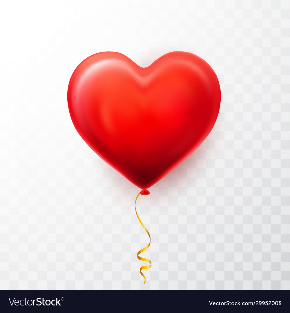 Realistic red heart balloon on transparent