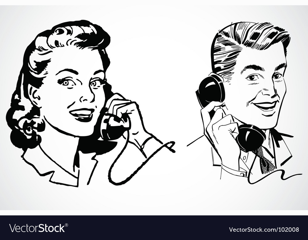 Retro phone conversation vector