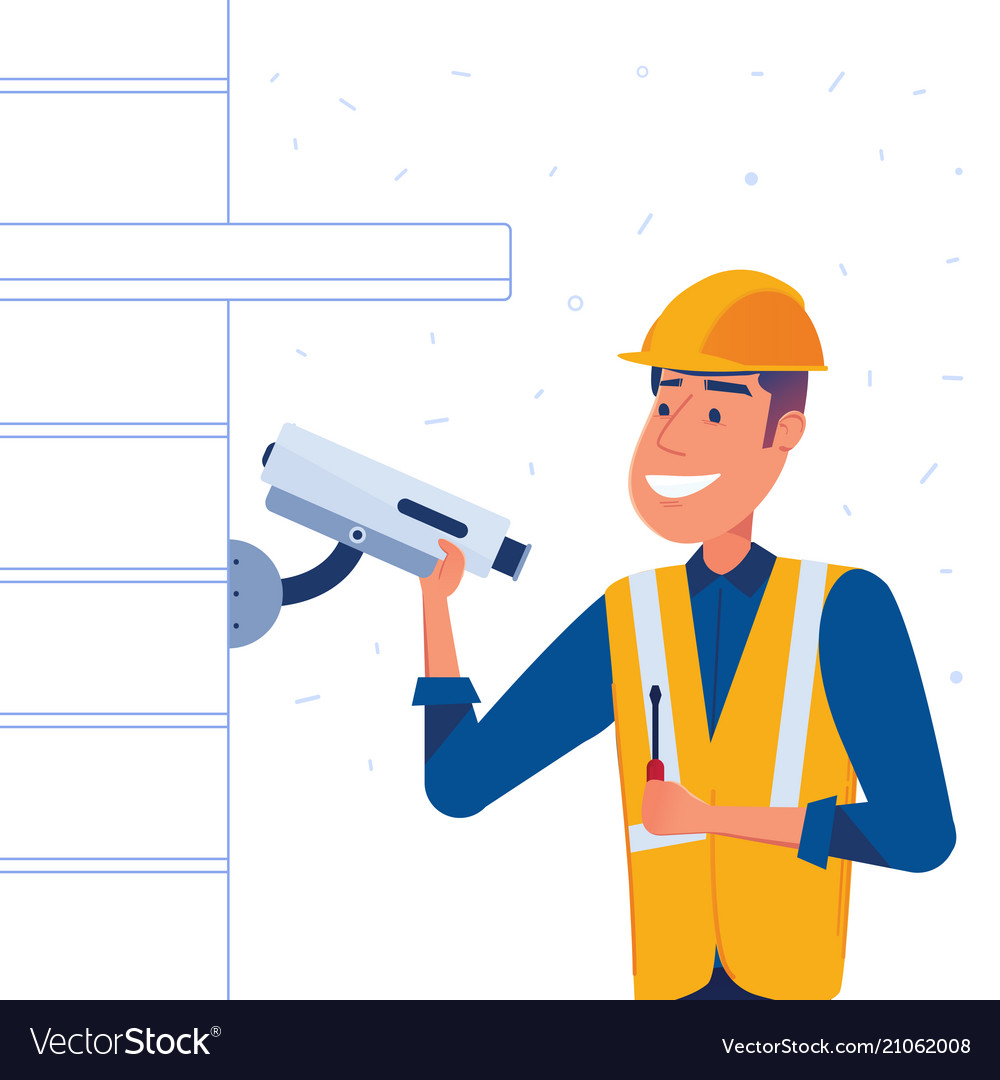security company employee sets up security camera vector image