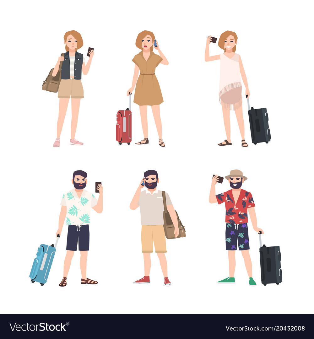 Set of male and female travelers with smartphones