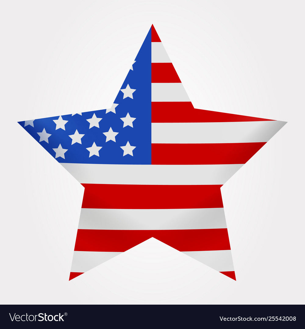 The american flag print as star shaped symbol big