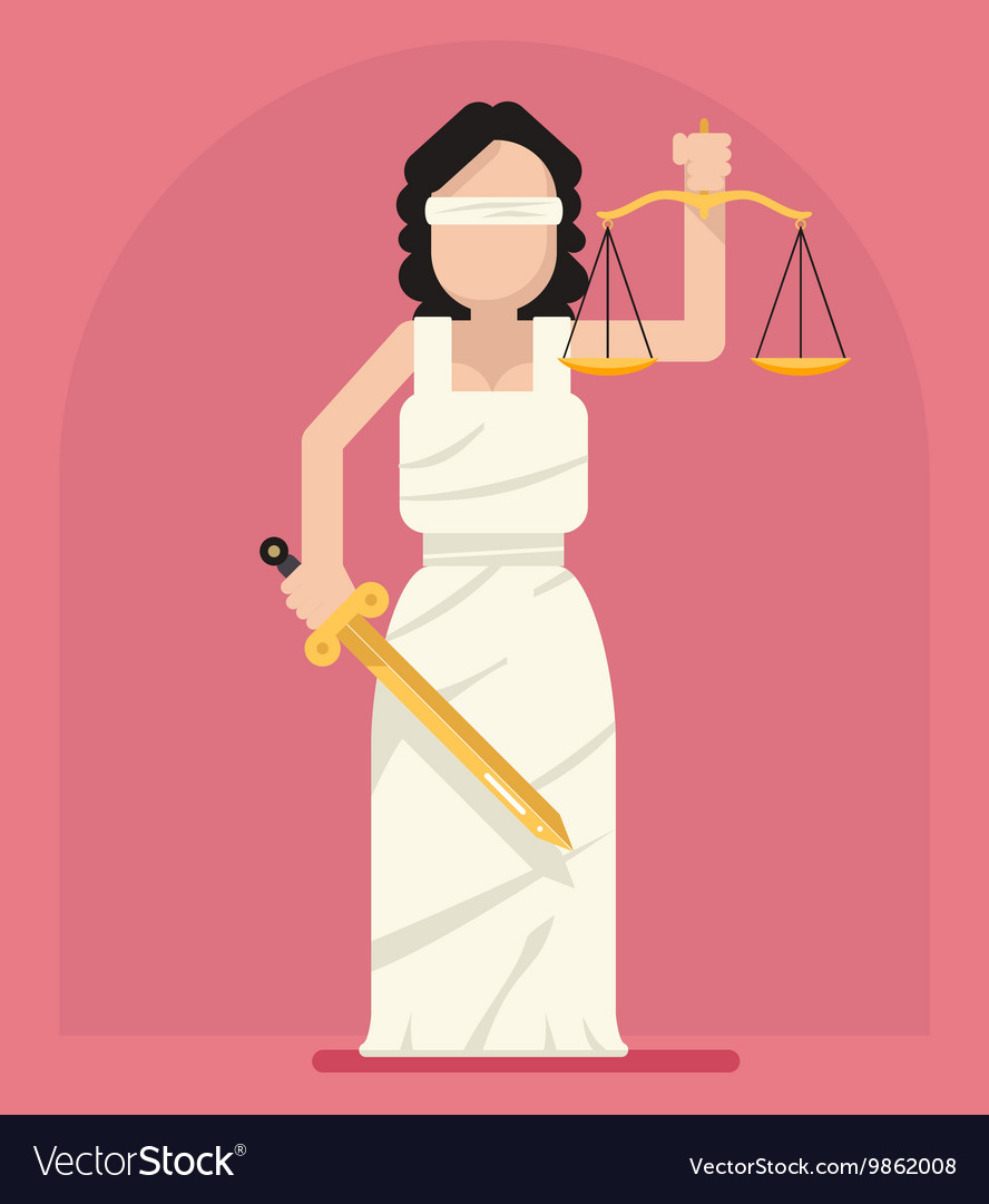 Themis Femida with scales and sword symbol of law