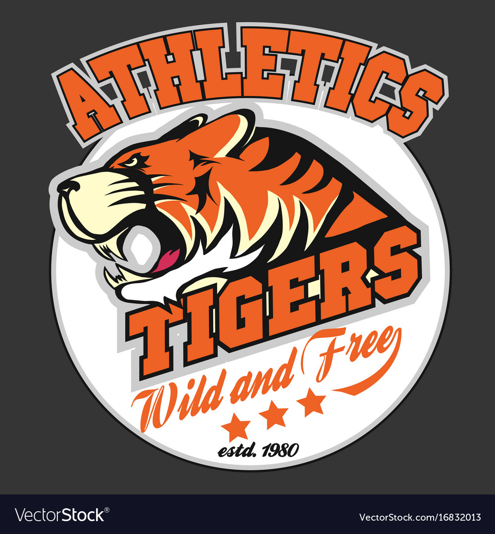 Angry tiger sport team emblem