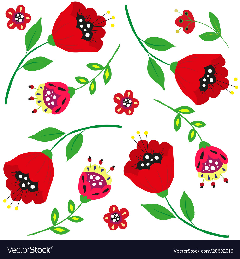 Bright cartoon poppies and flowers on white