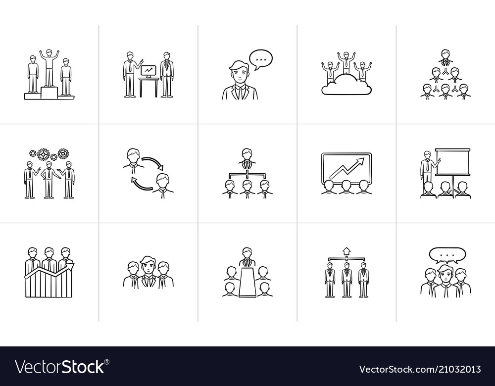 Business hand drawn sketch icon set
