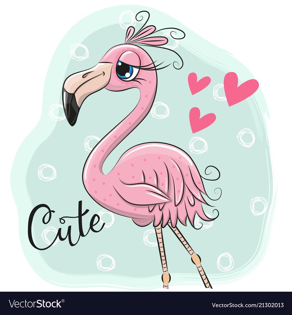 Cartoon flamingo on a blue background