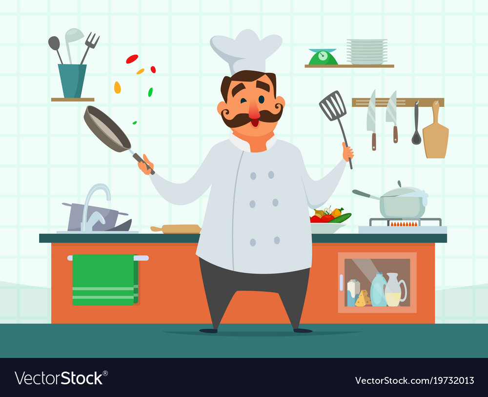chef cooking on the kitchen character in vector image - Cooking In The Kitchen