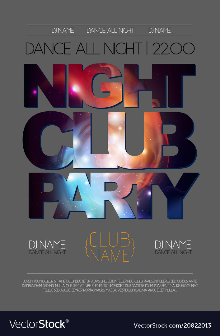 Disco Night Club Poster On Open Space Background