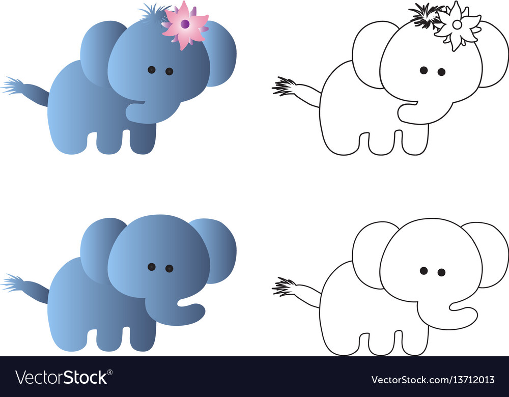 Drawing of a cartoon cute toy baby elephant