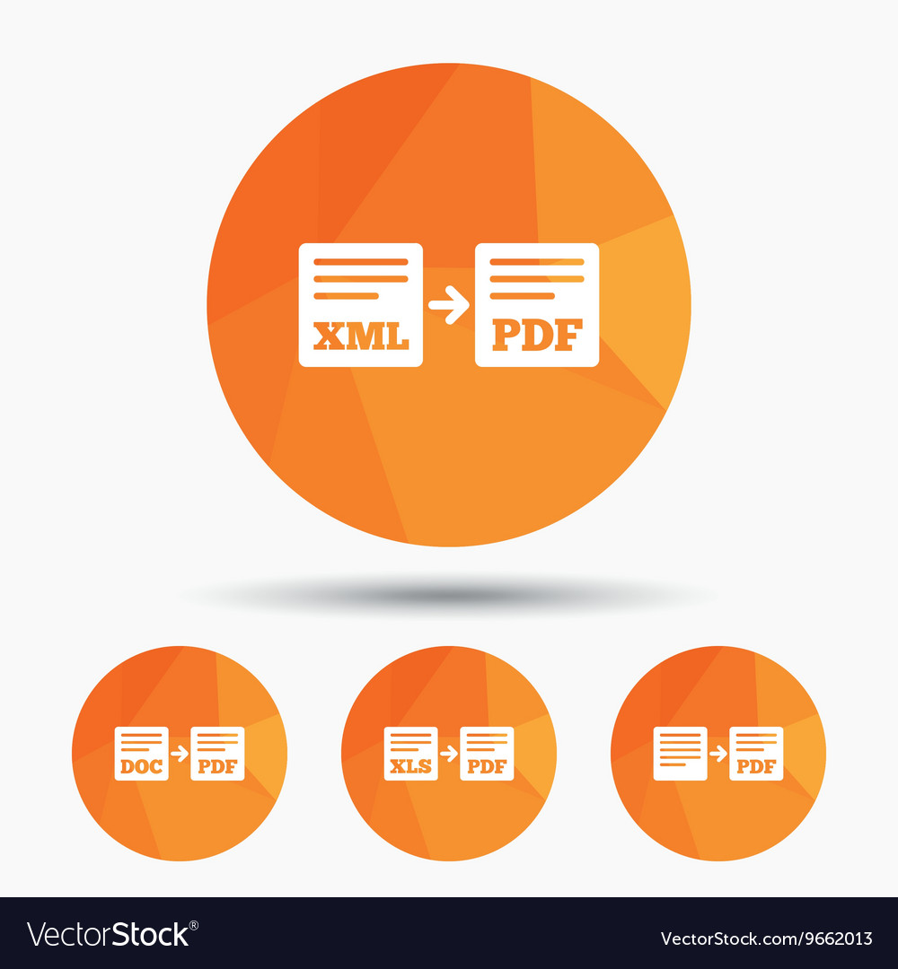 Export file signs Convert DOC to PDF symbols
