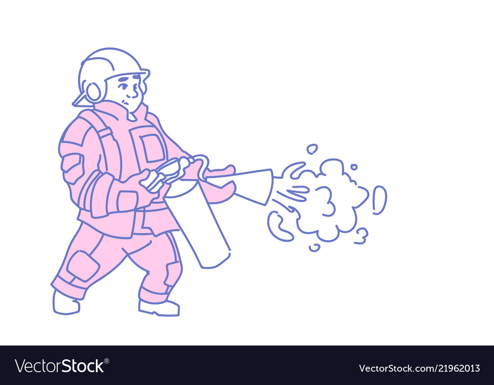 Fireman hold extinguisher wearing red uniform