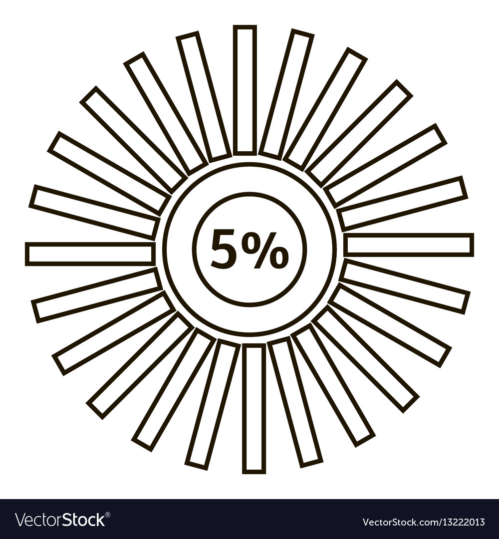 Five percents infographics outline style vector image