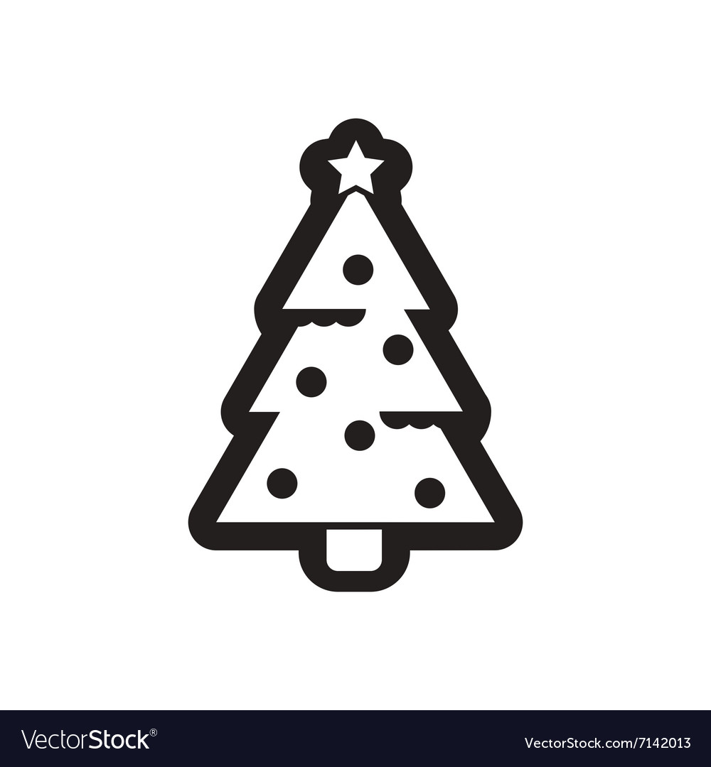 Christmas Tree Vector.Flat Icon In Black And White Christmas Tree