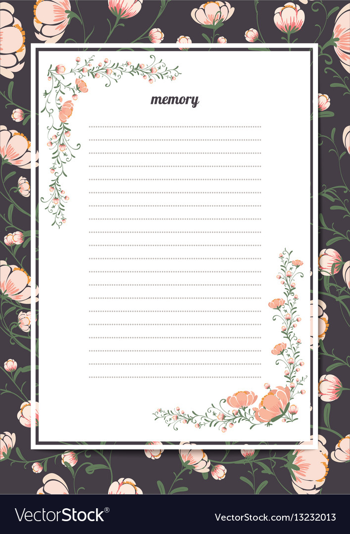 Flowers poster template memory book with a